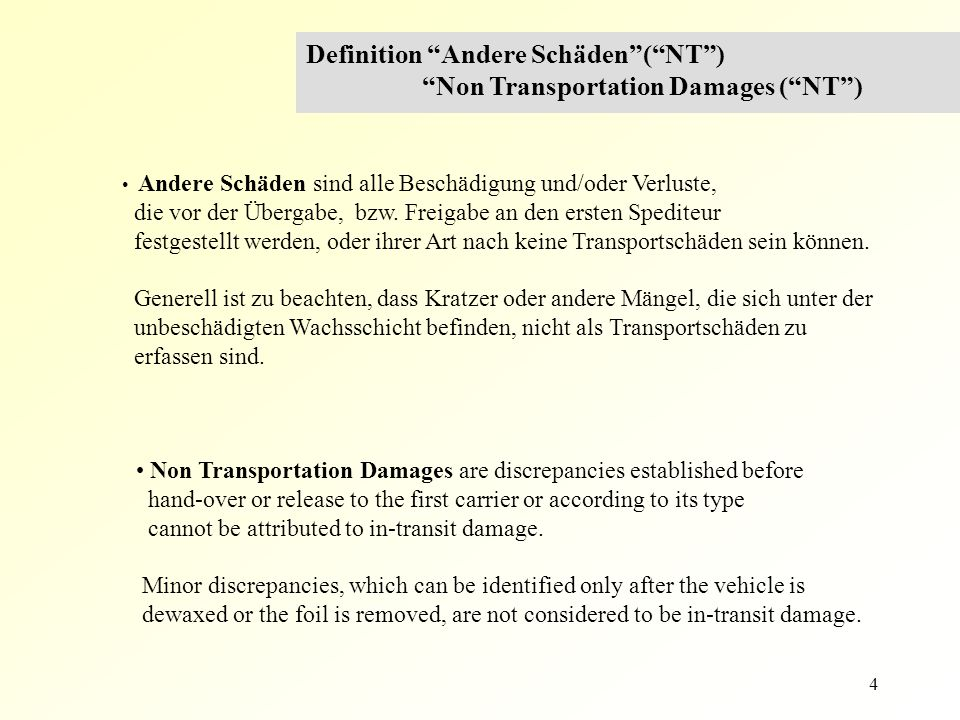15 Gebrochene Teile / Broken parts Definition Transportschäden ( T ) In-Transit Loss and Damages ( T ) Gebrochene, verbogene und zerrissene Teile Broken, bent or torn parts