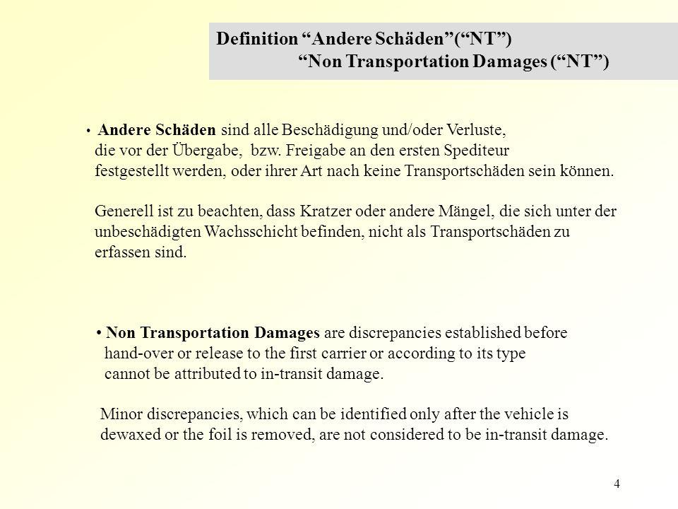 """4 Definition """"Andere Schäden""""(""""NT"""") """"Non Transportation Damages (""""NT"""") Andere Schäden sind alle Beschädigung und/oder Verluste, die vor der Übergabe,"""