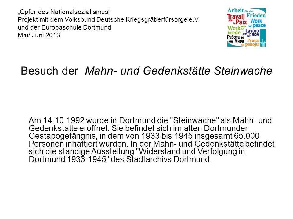 """""""Opfer des Nationalsozialismus Projekt mit dem Volksbund Deutsche Kriegsgräberfürsorge e.V."""