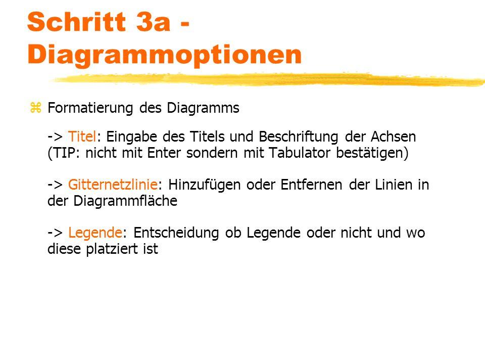 Schritt 3a - Diagrammoptionen zFormatierung des Diagramms -> Titel: Eingabe des Titels und Beschriftung der Achsen (TIP: nicht mit Enter sondern mit T