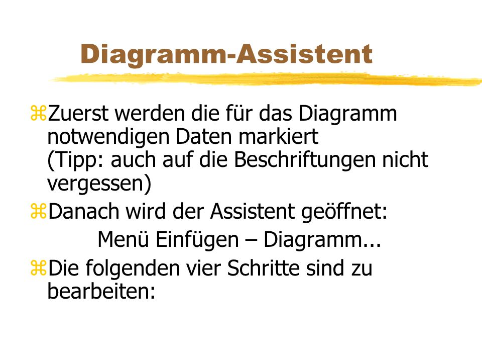 Diagramm-Assistent zZuerst werden die für das Diagramm notwendigen Daten markiert (Tipp: auch auf die Beschriftungen nicht vergessen) zDanach wird der