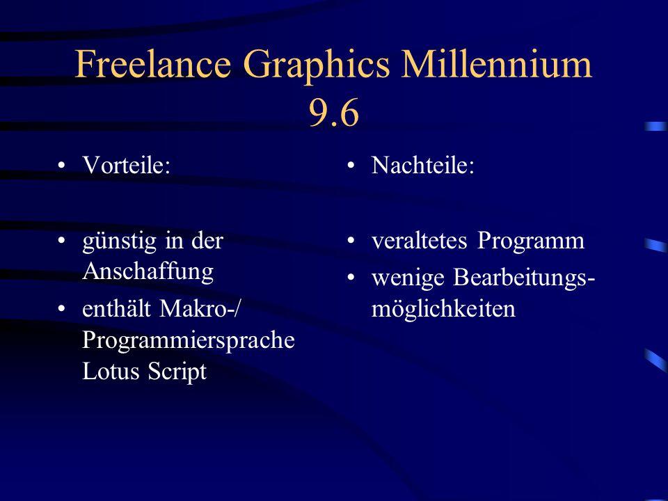 StarOffice Impress 5.2 Vorteile: Download vom Internet möglich großen Anzahl von Sprachversionen direkter Zugriff auf einzelne Seiten Ansichtenwechsel über Icons Nachteil Animationen und Effekte sind nicht Internet betriebsfähig