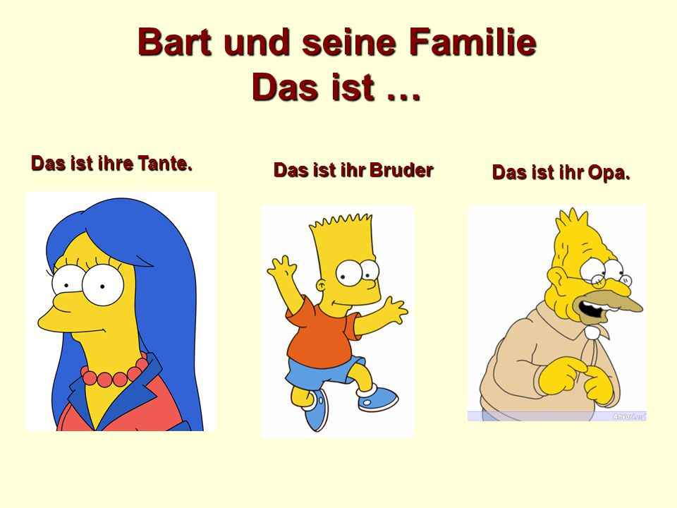 Bart und seine Familie Das ist … Das ist ihre Tante. Das ist ihr Opa. Das ist ihr Bruder