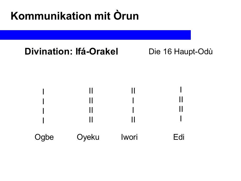 Kommunikation mit Òrun Das Enthaltene & das Enthaltende Die Geschichte von Agere & Orunmila Agere hat Orunmila gerettet, indem sie ihn in ihrem Bauch versteckt hat Die Ikin (Orunmila) sind im Bauch von Agere