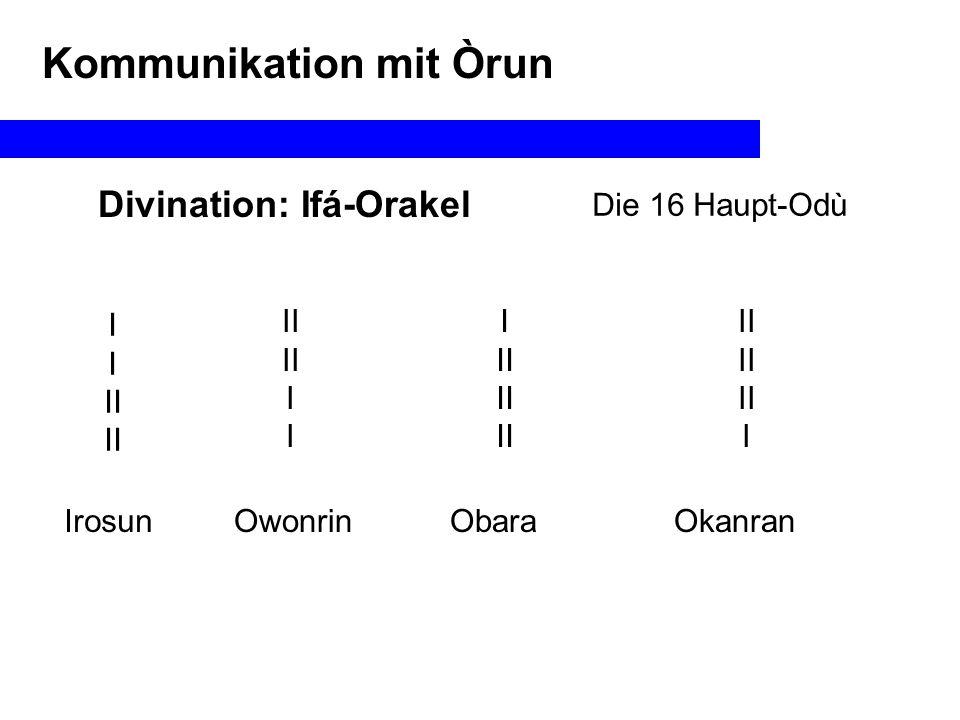 Divination Kommunikation mit Òrun Alle oben (Innenseite):Alafia Alle unten (Außenseite)Oyeku 2 oben/2 untenEjife 3/1Etawa 1/3Okana Im Ifá-Orakel: II I Okanran Oyeku Obi abata