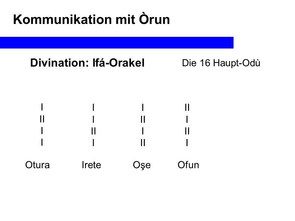"""Divination: Ifá-Orakel Anwendung bei Initiationsritualen Ikose w'aye: in die Welt eintreten Imori: den """"Kopf erkennen Kommunikation mit Òrun Itefa: das Selbst aufbauen M/W Nur M Isode / Itude : das Band knüpfen auflösen Nur W"""