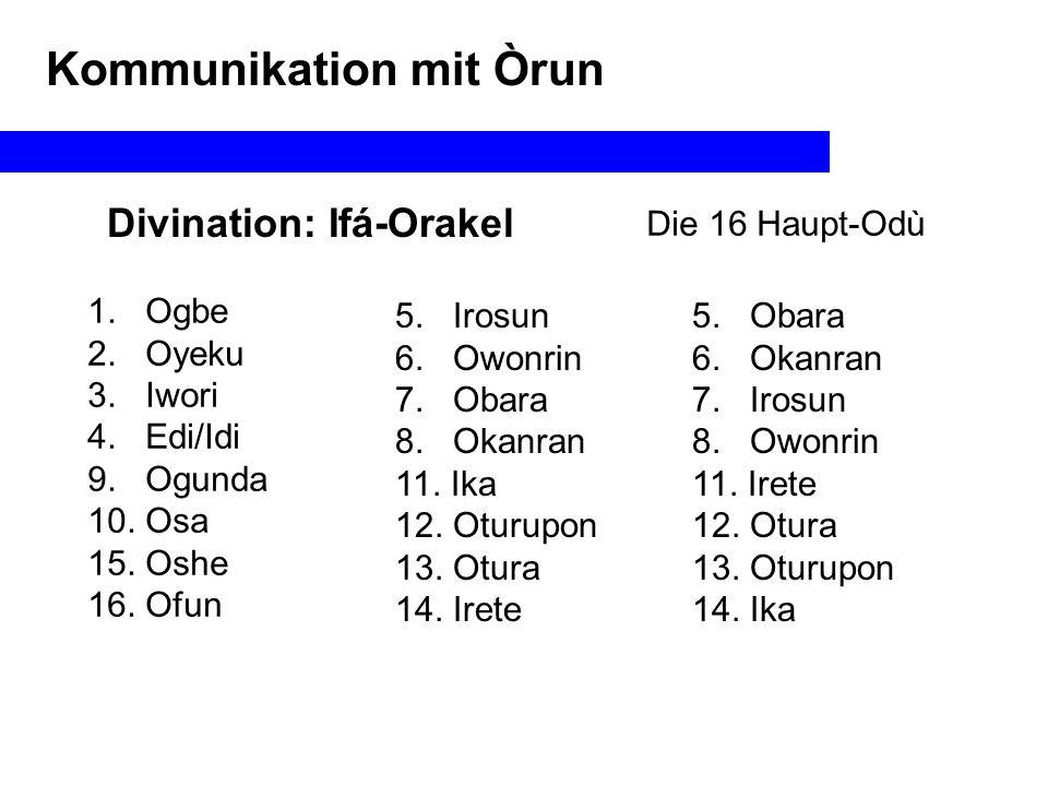 Divination: Ifá-Orakel Die 16 Haupt-Odù Kommunikation mit Òrun I II I II I II I II I II I IIIIIIII Oturupon-OgundaIwori-OwonrinOgbe-Ofun