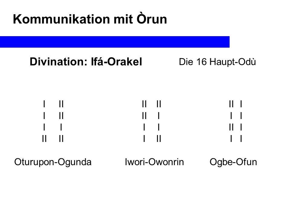 Divination: Ifá-Orakel Die 16 Haupt-Odù Kommunikation mit Òrun IIIIIIII Ogbe Meji Eji Ogbe II Oyeku Meji Eji Oyeku II I II Iwori Meji Eji Iwori I II I Edi Meji Eji Edi IIIIIIII II I II I II I