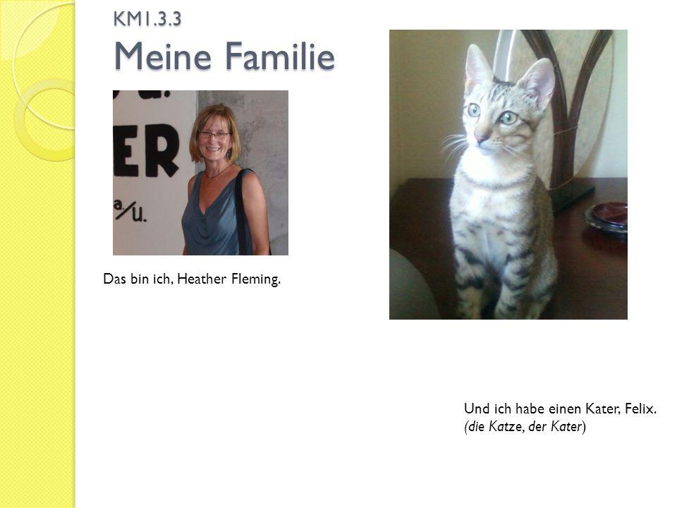 KM1.3.3 Meine Familie Das bin ich, Heather Fleming. Und ich habe einen Kater, Felix. (die Katze, der Kater)