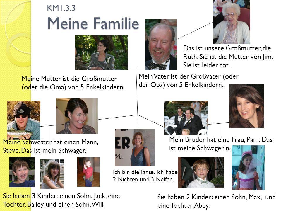 KM1.3.3 Meine Familie Ich bin die Tante. Ich habe 2 Nichten und 3 Neffen. Meine Mutter ist die Großmutter (oder die Oma) von 5 Enkelkindern. Mein Vate