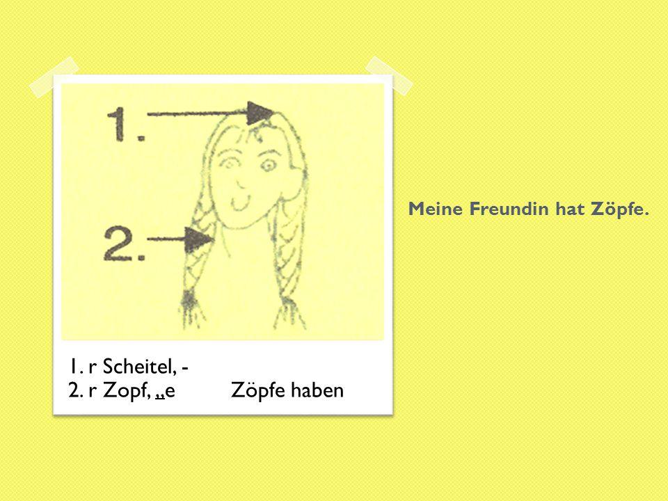 """Meine Freundin hat Zöpfe. 1. r Scheitel, - 2. r Zopf, """"e Zöpfe haben"""