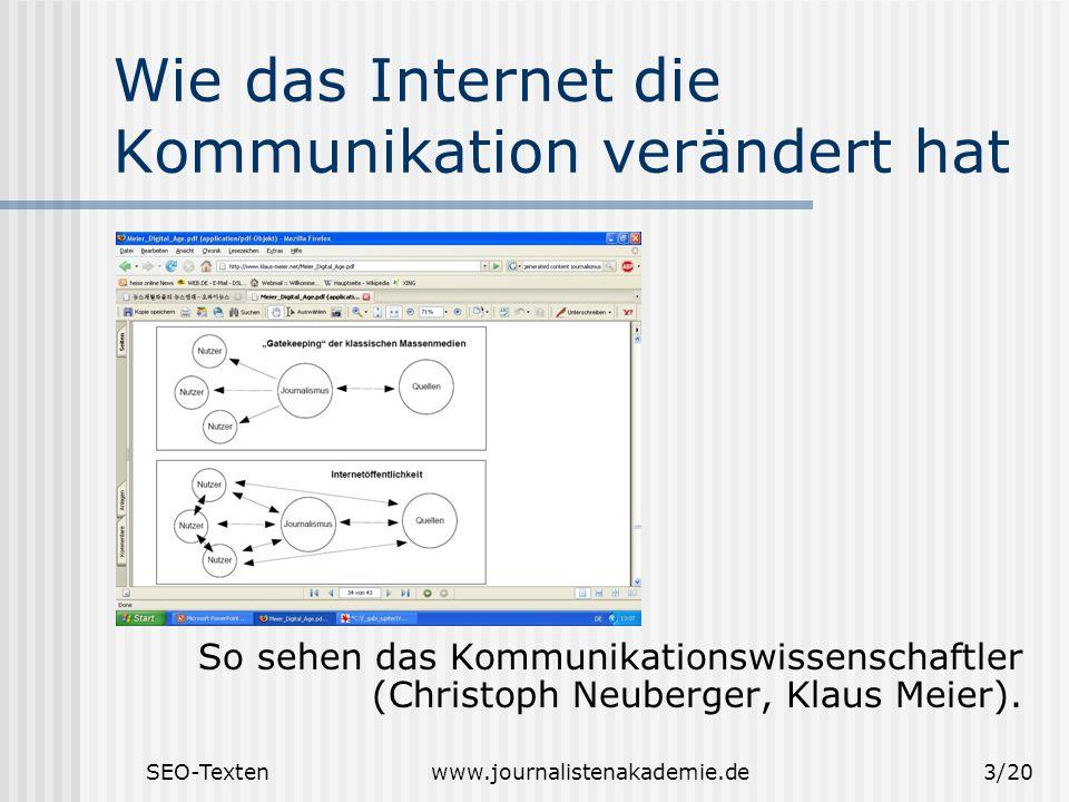 SEO-Textenwww.journalistenakademie.de3/20 Wie das Internet die Kommunikation verändert hat So sehen das Kommunikationswissenschaftler (Christoph Neuberger, Klaus Meier).