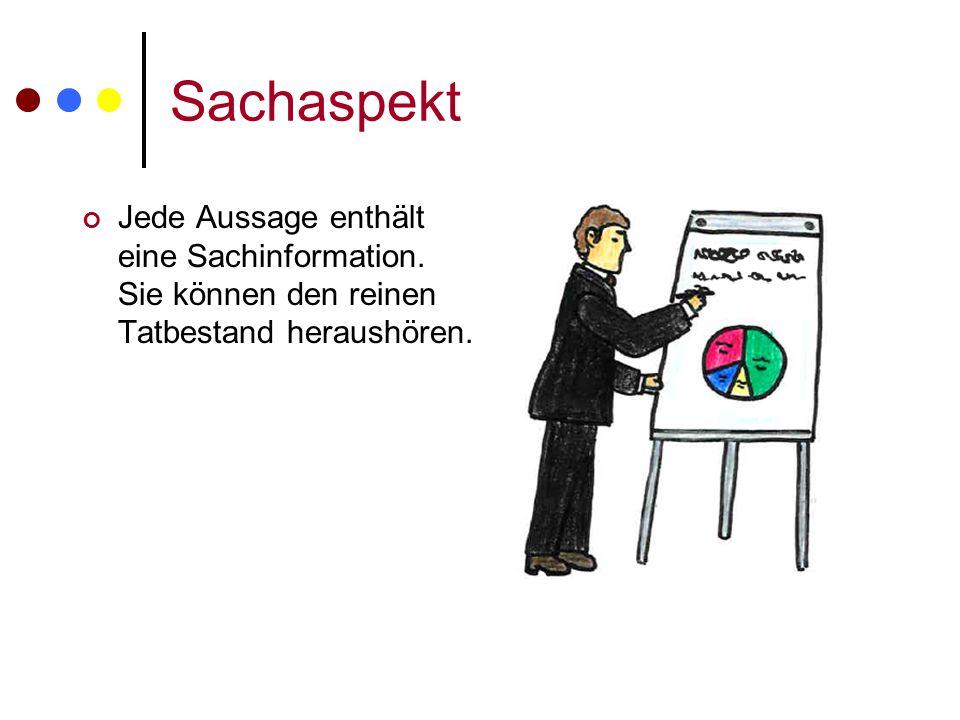 Sachaspekt Jede Aussage enthält eine Sachinformation. Sie können den reinen Tatbestand heraushören.