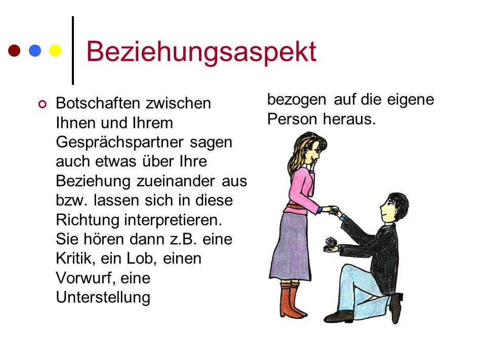 Beziehungsaspekt Botschaften zwischen Ihnen und Ihrem Gesprächspartner sagen auch etwas über Ihre Beziehung zueinander aus bzw. lassen sich in diese R