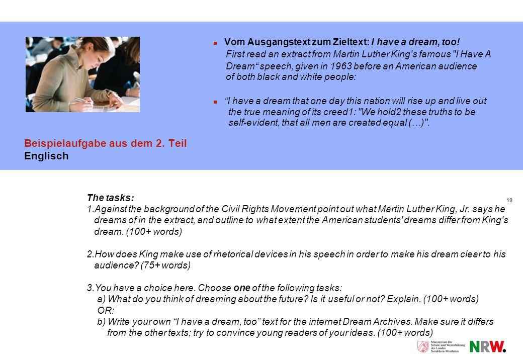 10 Beispielaufgabe aus dem 2.Teil Englisch Vom Ausgangstext zum Zieltext: I have a dream, too.