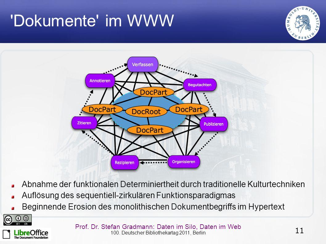 11 Prof. Dr. Stefan Gradmann: Daten im Silo, Daten im Web 100. Deutscher Bibliothekartag 2011, Berlin Abnahme der funktionalen Determiniertheit durch