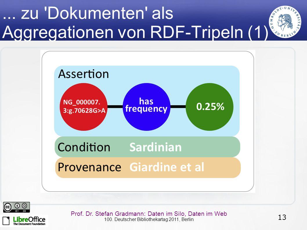 13 Prof. Dr. Stefan Gradmann: Daten im Silo, Daten im Web 100. Deutscher Bibliothekartag 2011, Berlin... zu 'Dokumenten' als Aggregationen von RDF-Tri