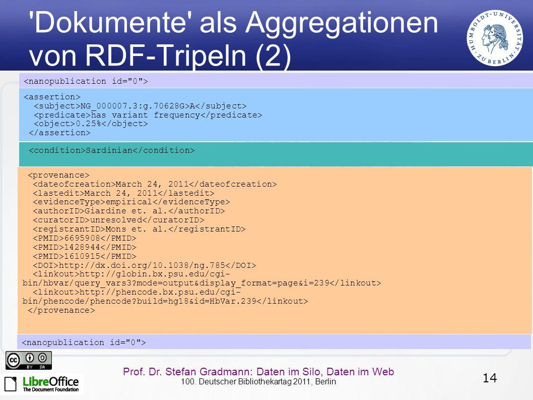 14 Prof. Dr. Stefan Gradmann: Daten im Silo, Daten im Web 100. Deutscher Bibliothekartag 2011, Berlin 'Dokumente' als Aggregationen von RDF-Tripeln (2