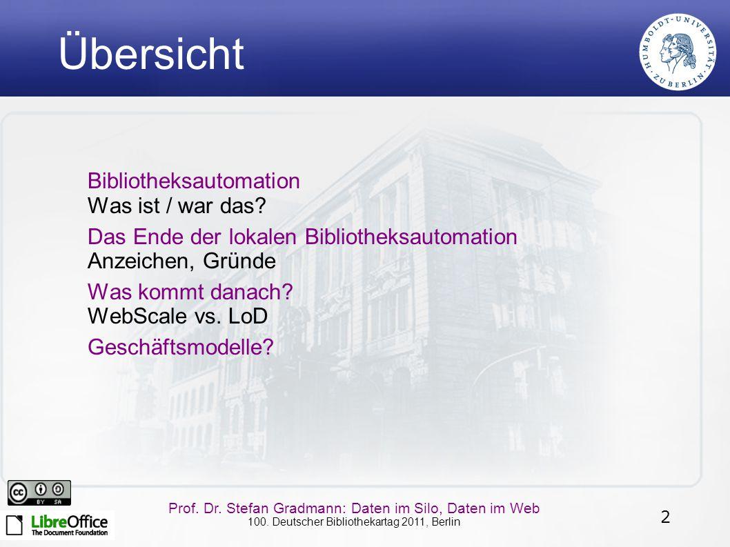 2 Prof. Dr. Stefan Gradmann: Daten im Silo, Daten im Web 100. Deutscher Bibliothekartag 2011, Berlin Übersicht Bibliotheksautomation Was ist / war das