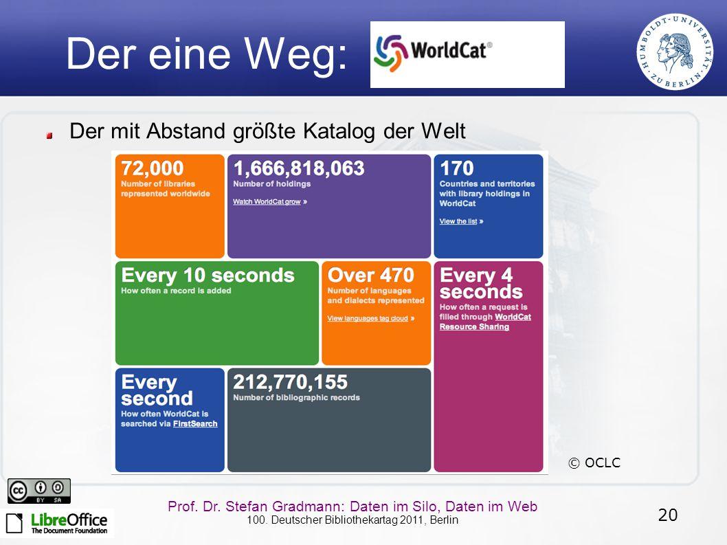 20 Prof. Dr. Stefan Gradmann: Daten im Silo, Daten im Web 100. Deutscher Bibliothekartag 2011, Berlin Der eine Weg: Der mit Abstand größte Katalog der