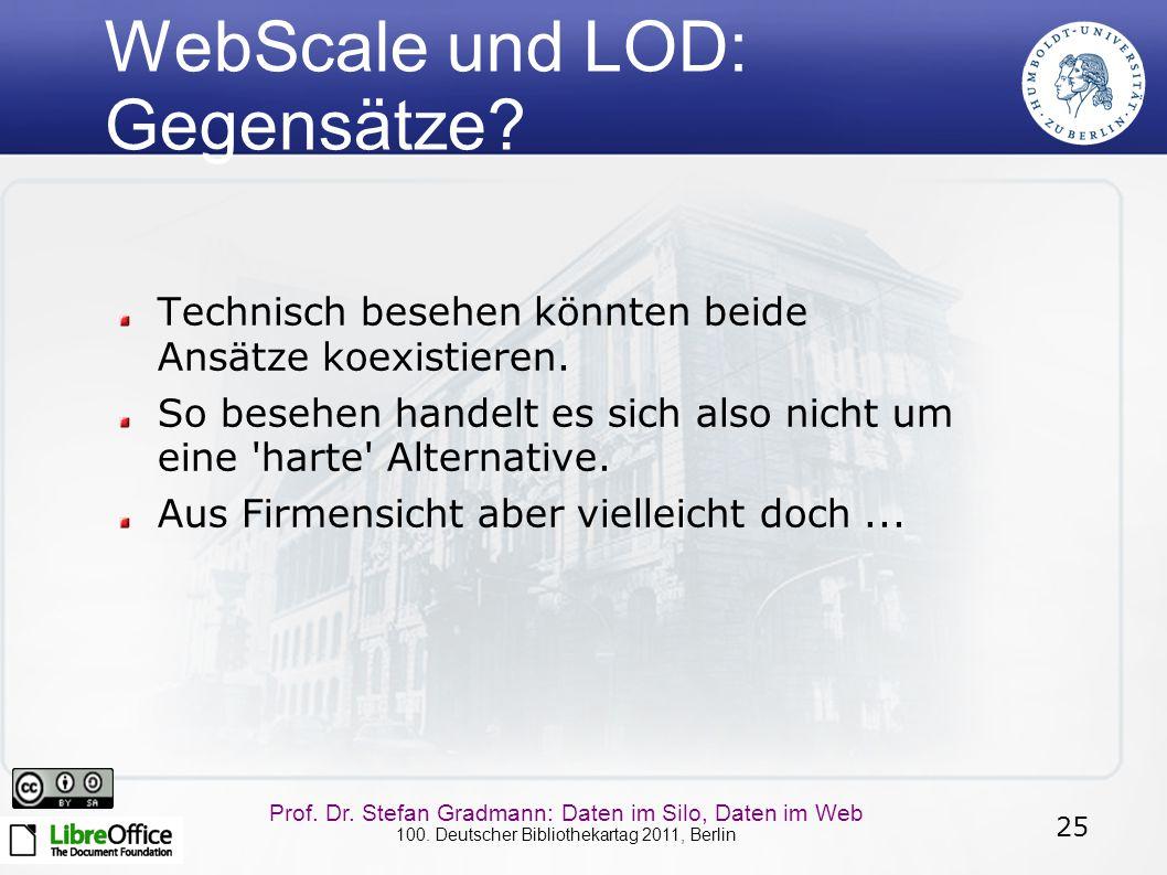 25 Prof. Dr. Stefan Gradmann: Daten im Silo, Daten im Web 100. Deutscher Bibliothekartag 2011, Berlin WebScale und LOD: Gegensätze? Technisch besehen