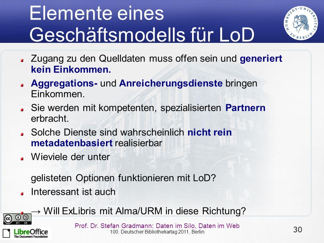 30 Prof. Dr. Stefan Gradmann: Daten im Silo, Daten im Web 100. Deutscher Bibliothekartag 2011, Berlin Elemente eines Geschäftsmodells für LoD Zugang z