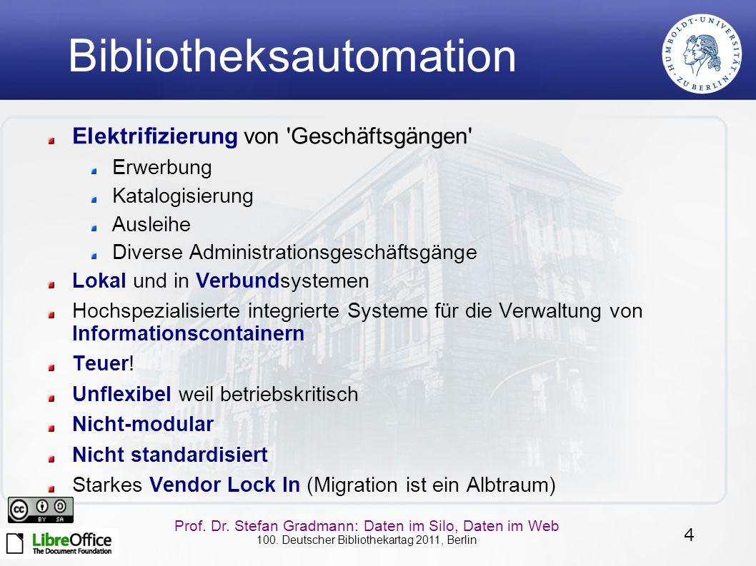 4 Prof. Dr. Stefan Gradmann: Daten im Silo, Daten im Web 100. Deutscher Bibliothekartag 2011, Berlin Bibliotheksautomation Elektrifizierung von 'Gesch