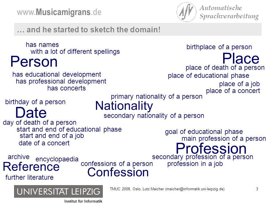 Institut für Informatik www.Musicamigrans.de Automatische Sprachverarbeitung 54TMUC 2008, Oslo, Lutz Maicher (maicher@informatik.uni-leipzig.de)