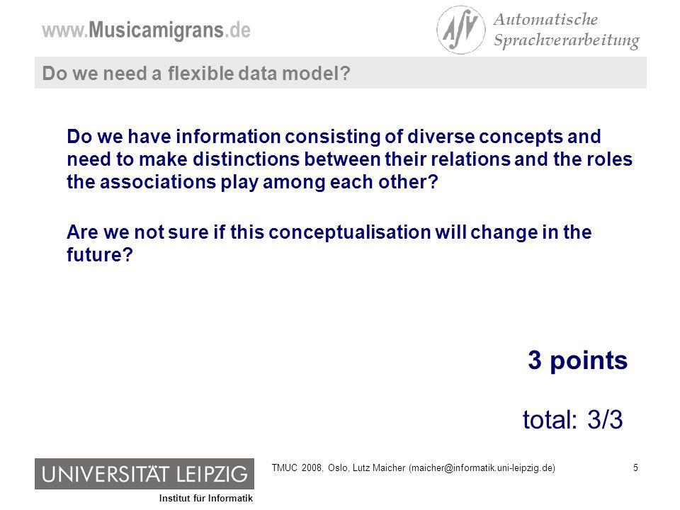 Institut für Informatik www.Musicamigrans.de Automatische Sprachverarbeitung 16TMUC 2008, Oslo, Lutz Maicher (maicher@informatik.uni-leipzig.de)