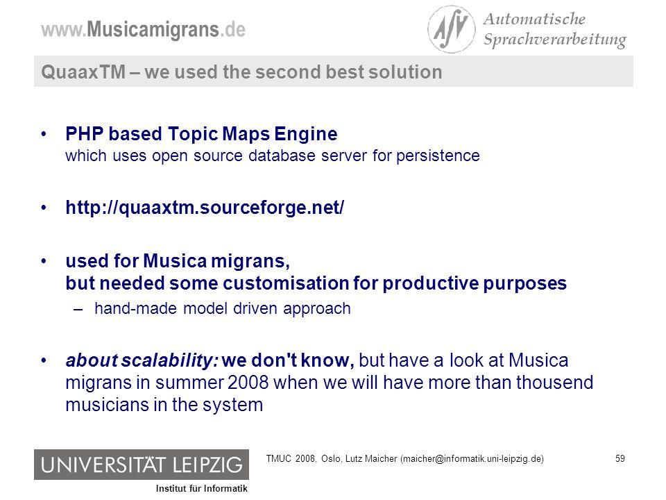 Institut für Informatik www.Musicamigrans.de Automatische Sprachverarbeitung 59TMUC 2008, Oslo, Lutz Maicher (maicher@informatik.uni-leipzig.de) Quaax
