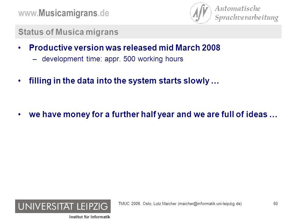 Institut für Informatik www.Musicamigrans.de Automatische Sprachverarbeitung 60TMUC 2008, Oslo, Lutz Maicher (maicher@informatik.uni-leipzig.de) Statu