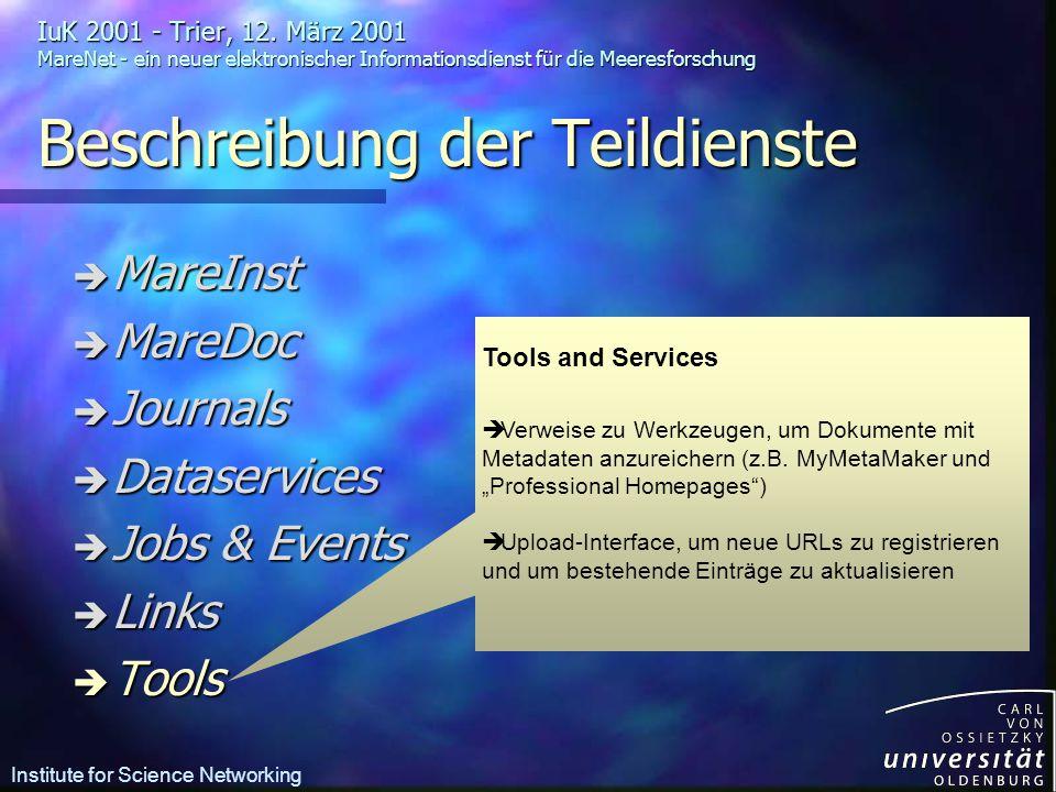 Tools and Services è Verweise zu Werkzeugen, um Dokumente mit Metadaten anzureichern (z.B.