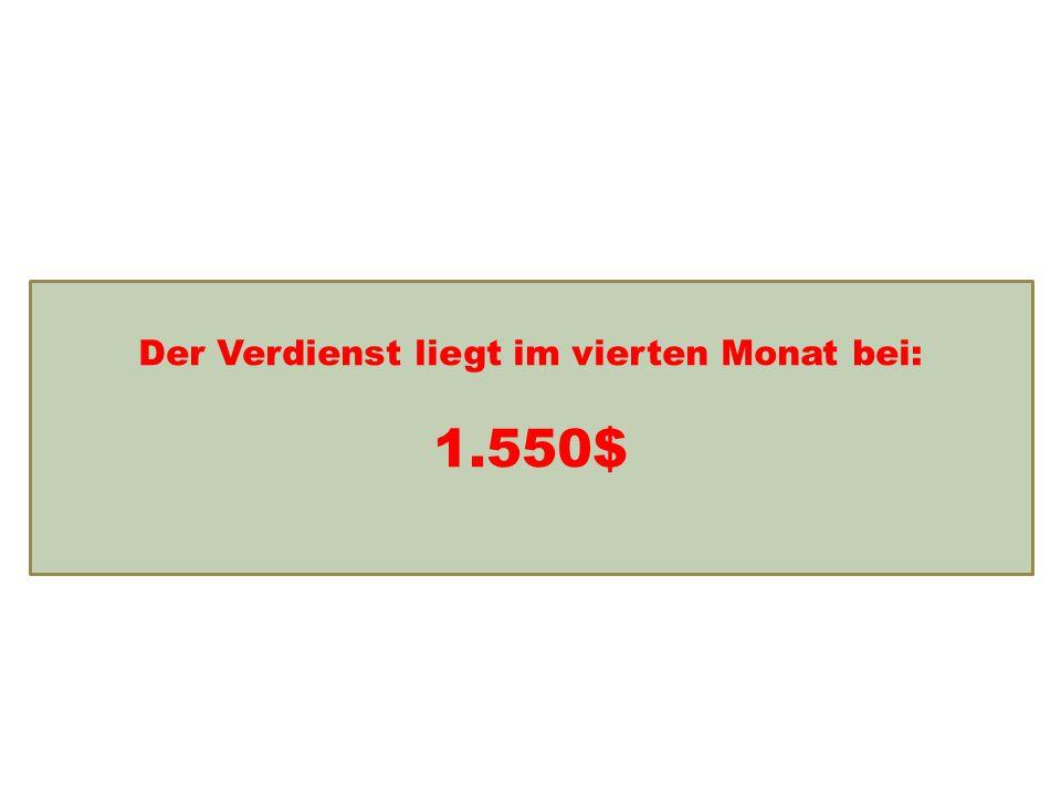 Einkommensentwicklung Der Verdienst liegt im vierten Monat bei: 1.550$