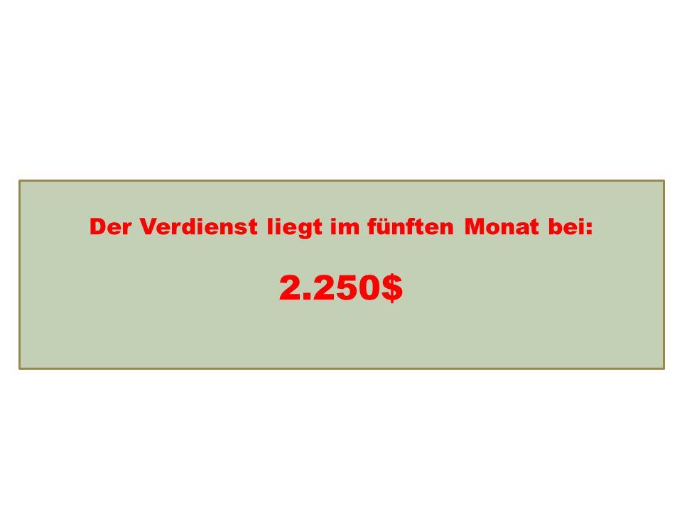 Einkommensentwicklung Der Verdienst liegt im fünften Monat bei: 2.250$