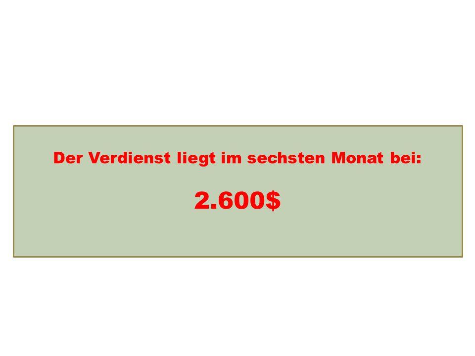 Einkommensentwicklung Der Verdienst liegt im sechsten Monat bei: 2.600$