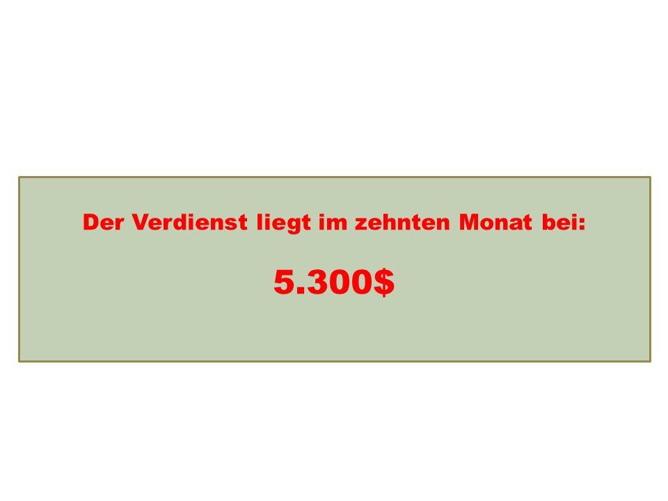 Einkommensentwicklung Der Verdienst liegt im zehnten Monat bei: 5.300$