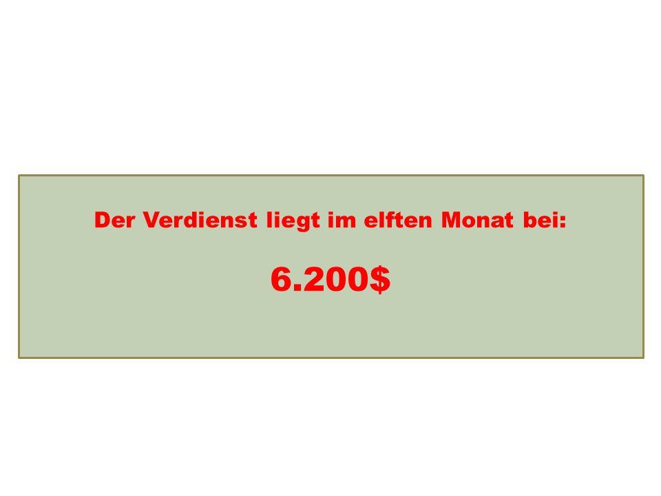 Einkommensentwicklung Der Verdienst liegt im elften Monat bei: 6.200$