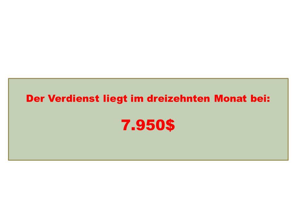 Einkommensentwicklung Der Verdienst liegt im dreizehnten Monat bei: 7.950$