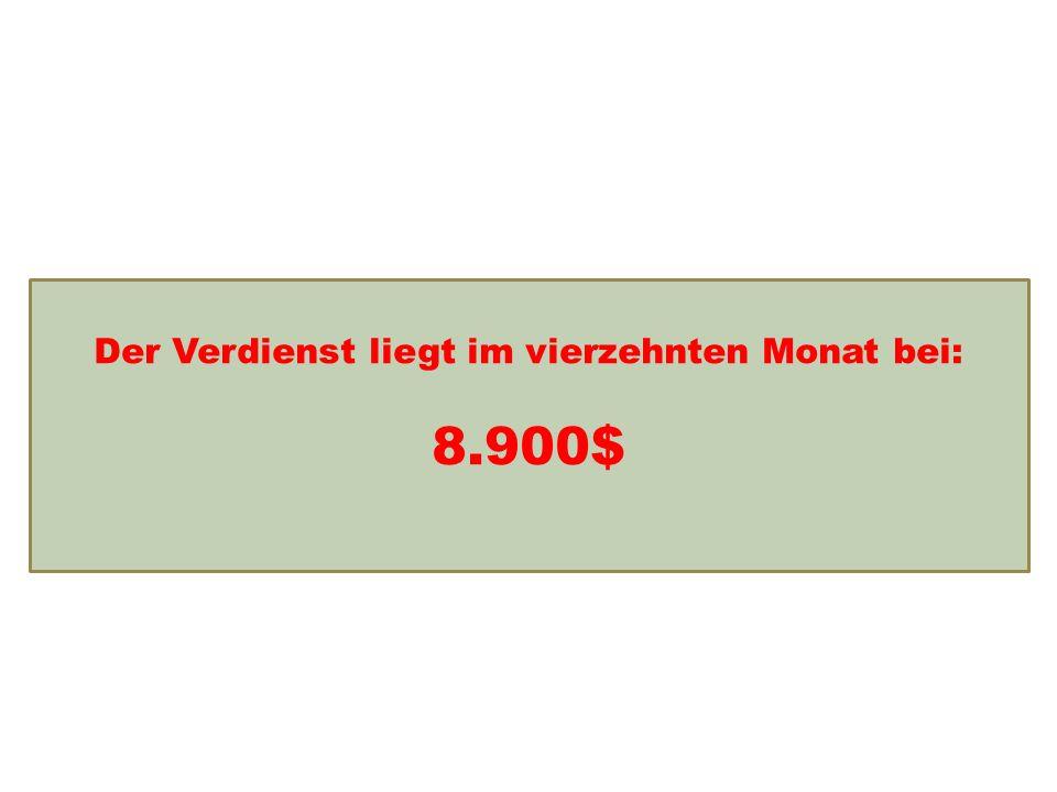 Einkommensentwicklung Der Verdienst liegt im vierzehnten Monat bei: 8.900$