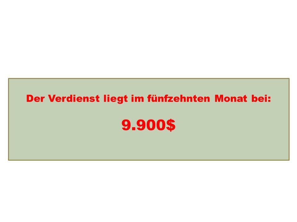 Einkommensentwicklung Der Verdienst liegt im fünfzehnten Monat bei: 9.900$