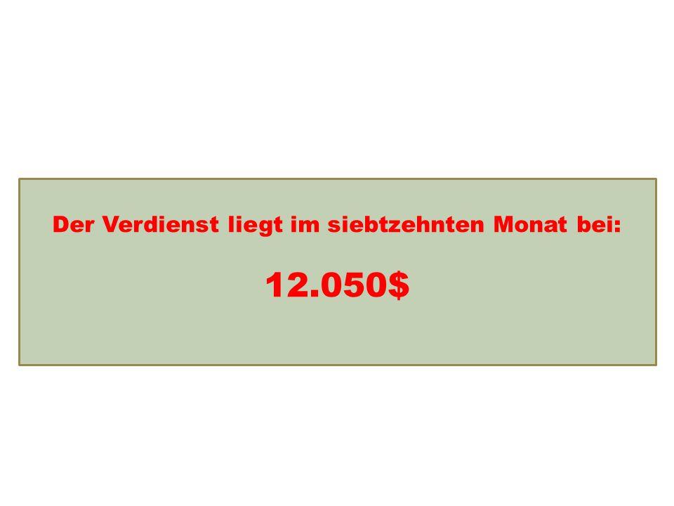 Einkommensentwicklung Der Verdienst liegt im siebtzehnten Monat bei: 12.050$