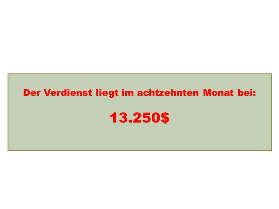 Einkommensentwicklung Der Verdienst liegt im achtzehnten Monat bei: 13.250$