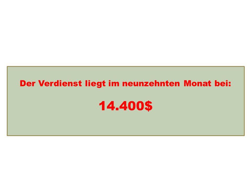 Einkommensentwicklung Der Verdienst liegt im neunzehnten Monat bei: 14.400$