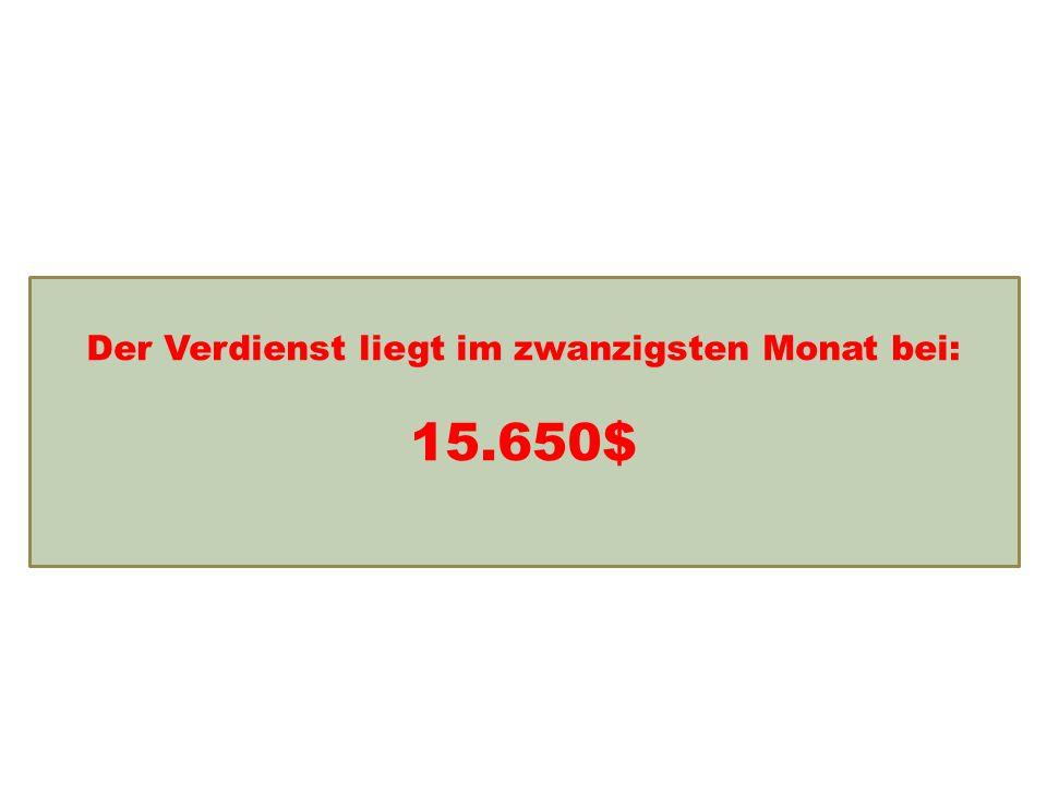 Einkommensentwicklung Der Verdienst liegt im zwanzigsten Monat bei: 15.650$