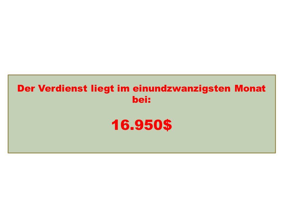Einkommensentwicklung Der Verdienst liegt im einundzwanzigsten Monat bei: 16.950$