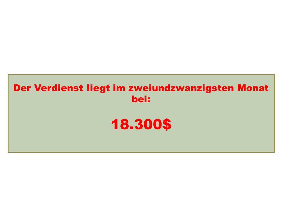 Einkommensentwicklung Der Verdienst liegt im zweiundzwanzigsten Monat bei: 18.300$