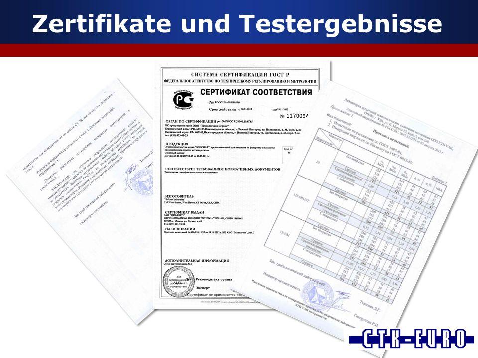 Zertifikate und Testergebnisse
