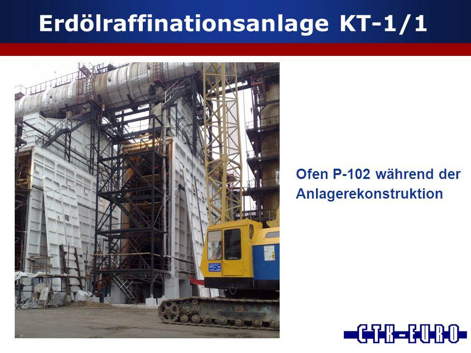 Erdölraffinationsanlage KT-1/1 Ofen P-102 während der Anlagerekonstruktion