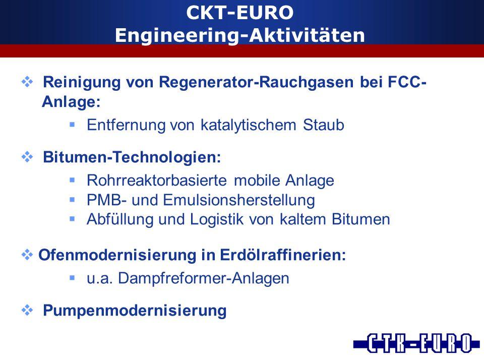  Reinigung von Regenerator-Rauchgasen bei FCC- Anlage:  Entfernung von katalytischem Staub  Bitumen-Technologien:  Rohrreaktorbasierte mobile Anla