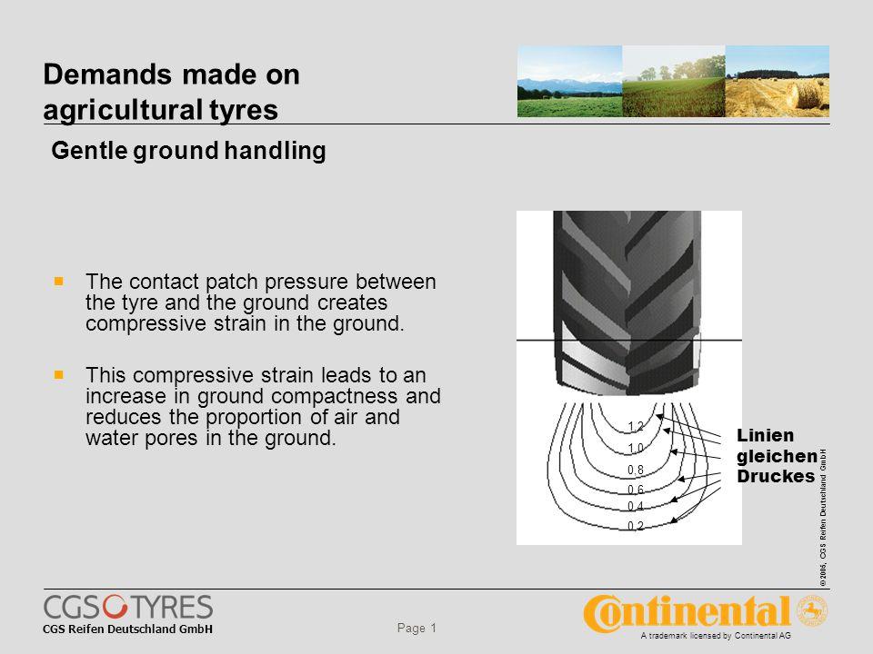 CGS Reifen Deutschland GmbH © 2005, CGS Reifen Deutschland GmbH A trademark licensed by Continental AG Page 1 Demands made on agricultural tyres  The